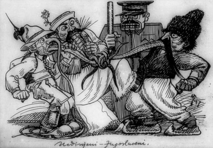 """Hinko Smrekar, 1937: UEDINJENI JUGOSLOVENI -Iz let med obema vojnama so Smrekarjeve karikature in satire bičale tedanje razmere. Podoba kaže tedanji položaj po uvedbi stroge cenzure. Umetnik je k risbi pripisal pojasnilo: """"Vsi pravi Jugosloveni so končno uedinjeni. Vsi so sporazumno ali nesporazumno uedinjeni v - molku."""""""